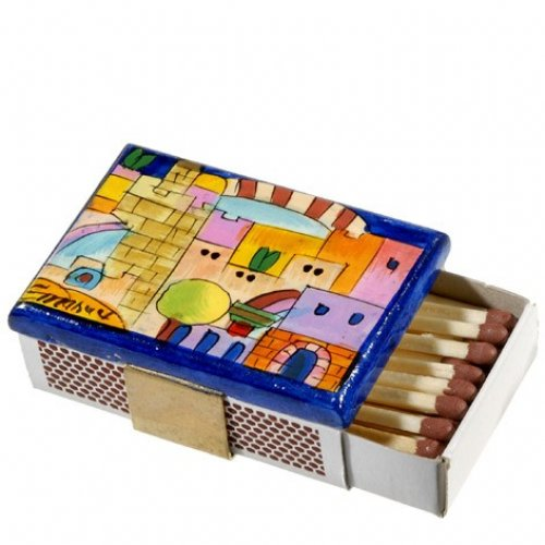 Yair Emanuel Painted Wood Matchbox Holder - Jerusalem & Tower of David