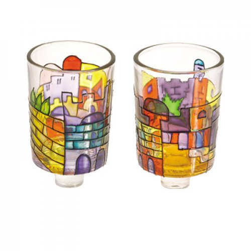 Yair Emanuel Pair of Stained Glass Colors Candle Holders - Jerusalem