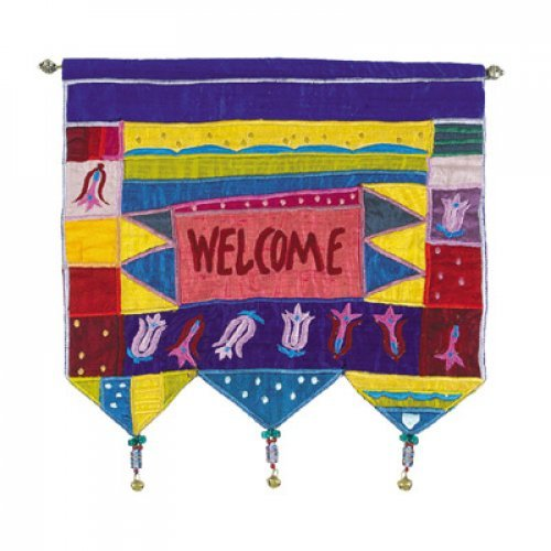 Yair Emanuel Silk Applique Welcome Colorful Wall Hanging, Flowers - English