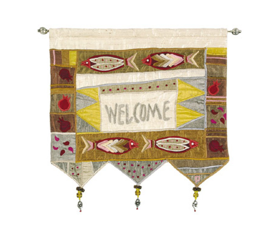yair emanuel silk applique welcome gold wall hanging