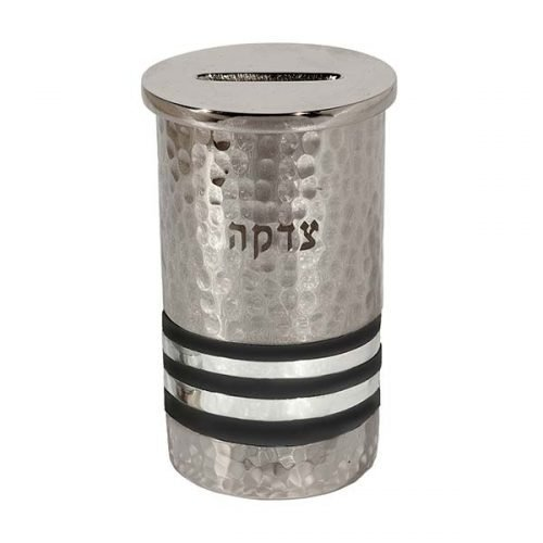 Yair Emanuel Silver Hammered Nickel Round Charity Box - Black and Silver Rings