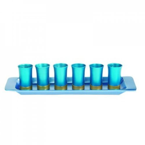 Yair Emanuel Six Anodized Aluminum Kiddush Cups and Tray – Metallic Colors