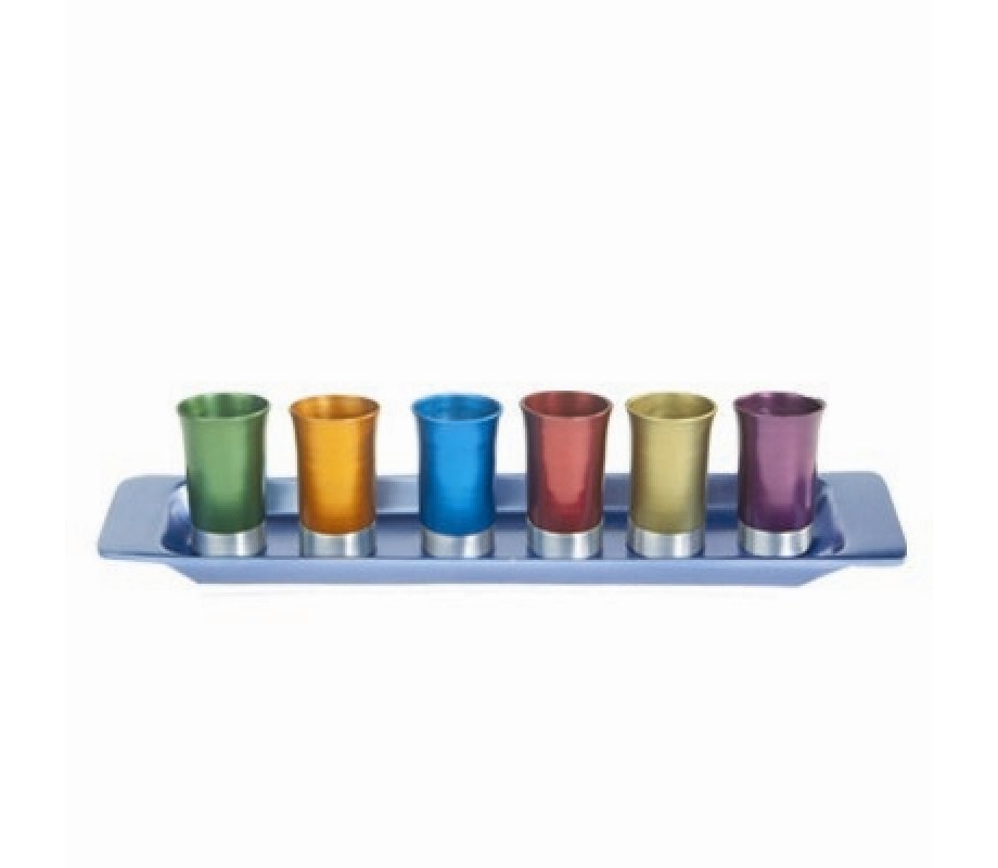 d3b29100fc6 Yair Emanuel Six Anodized Aluminum Kiddush Cups and Tray – Metallic Colors  | aJudaica.com