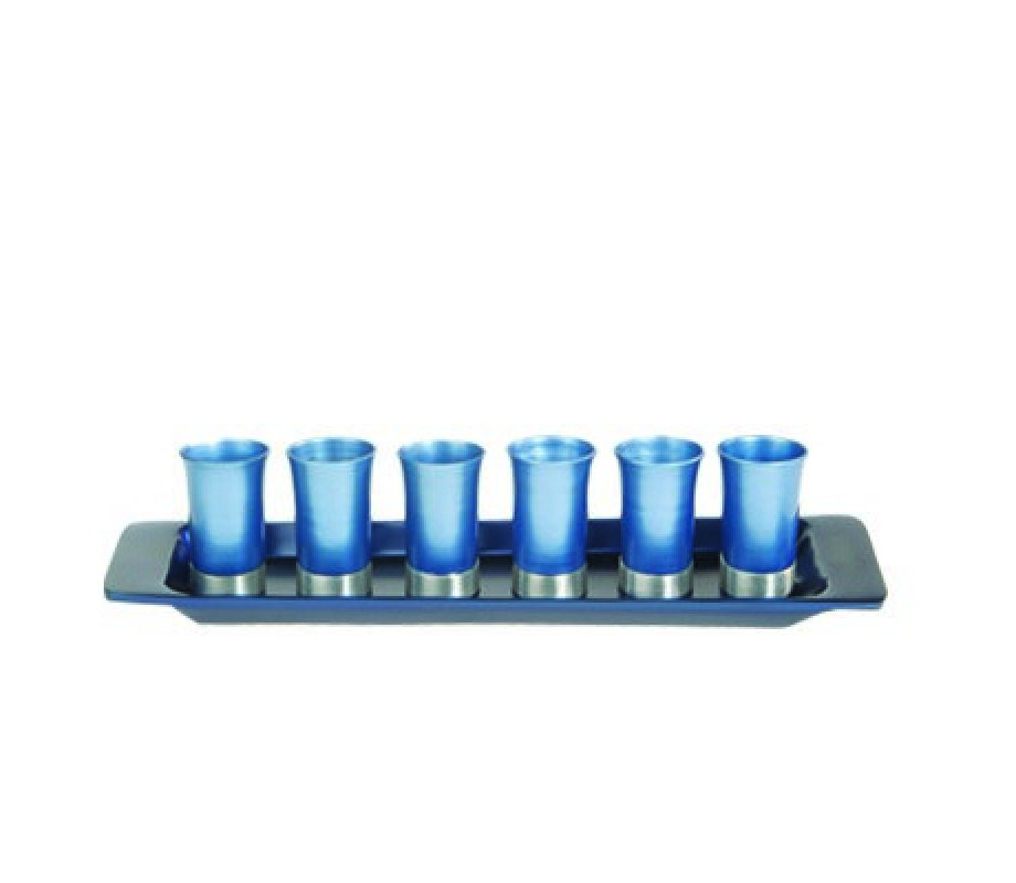 c4ee1242d4a Yair Emanuel Six Anodized Aluminum Kiddush Cups and Tray – Metallic Colors