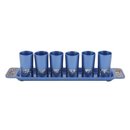 Yair Emanuel Six Small Kiddush Cups with Tray, Pomegranate Cutout - Blue