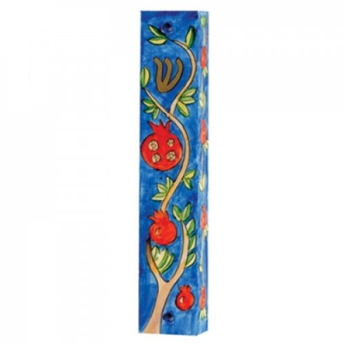 Yair Emanuel Small Hand Painted Blue Wood Mezuzah Case - Pomegranates