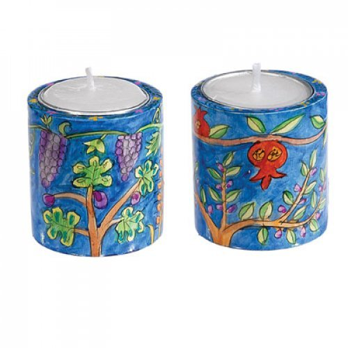 Yair Emanuel Small Hand Painted Wood Candlesticks - Seven Species