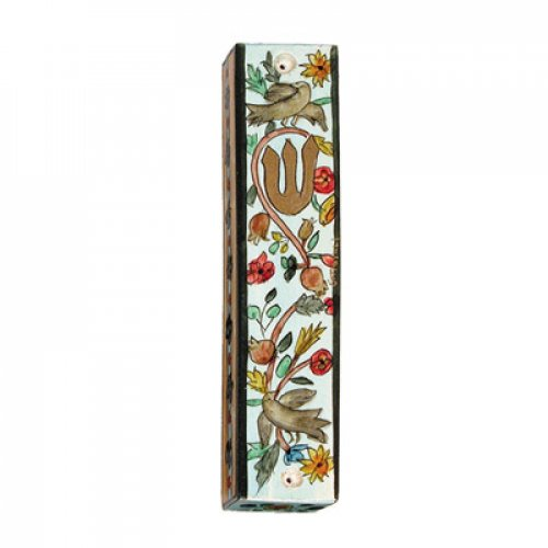 Yair Emanuel Small Hand Painted Wood Mezuzah Case - Birds and Pomegranates