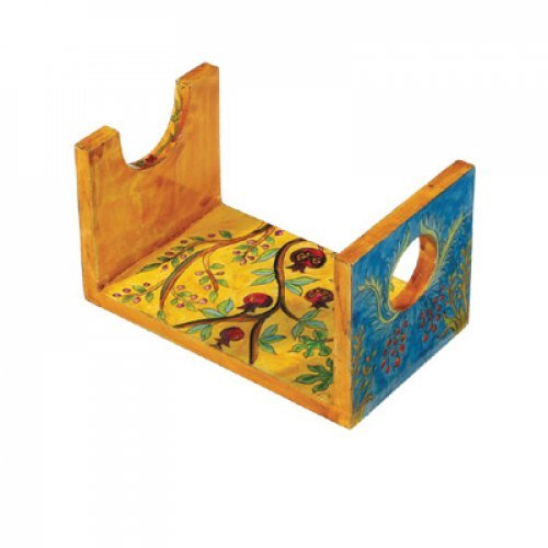 Yair Emanuel Small Hand Painted Wood Shofar Stand - Seven Species