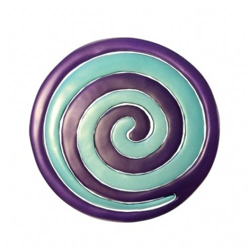 Yair Emanuel Two-in-One Blue and Violet Anodized Aluminum Trivet - Swirls