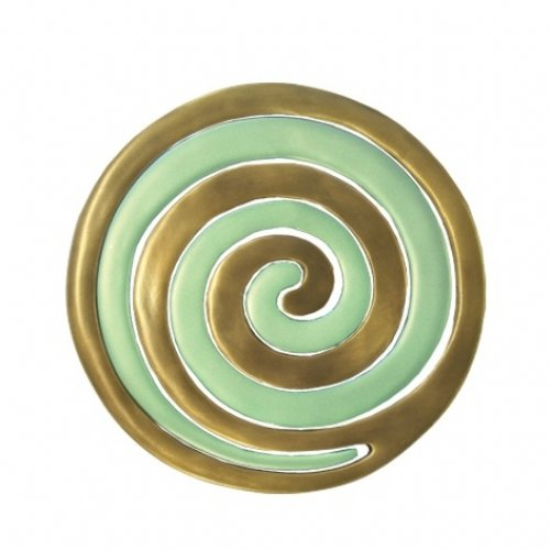 Yair Emanuel Two-in-One Gold and Green Anodized Aluminum Trivet - Swirls