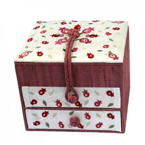 Yair Emanuel Wood & Fabric Embroidered Maroon Jewelry Box - Pomegranates