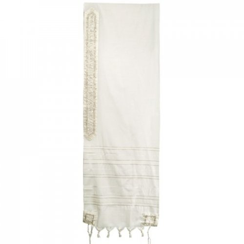 Yair Emanuel Wool Tallit Stripes and Embroidered Jerusalem Images - Silver