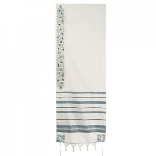 Yair Emanuel Wool Tallit, Stripes and Embroidered Pomegranates - Light Blue