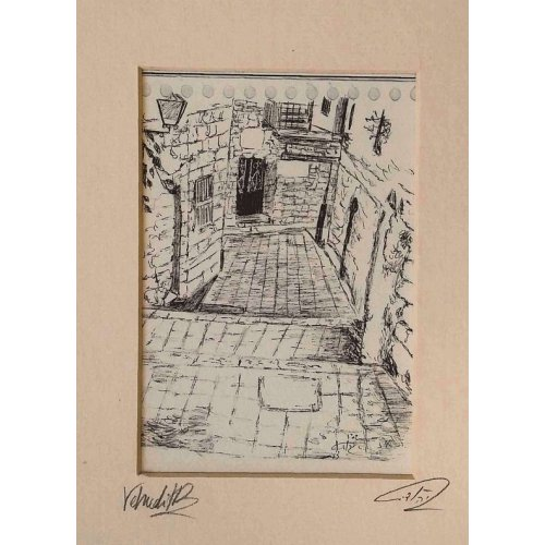 YehuditsArt Sketch Print of Narrow Alleyway in Safed