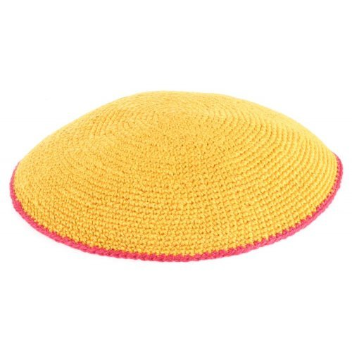 Yellow-Orange Flat DMC Knitted Kippah with Red Border