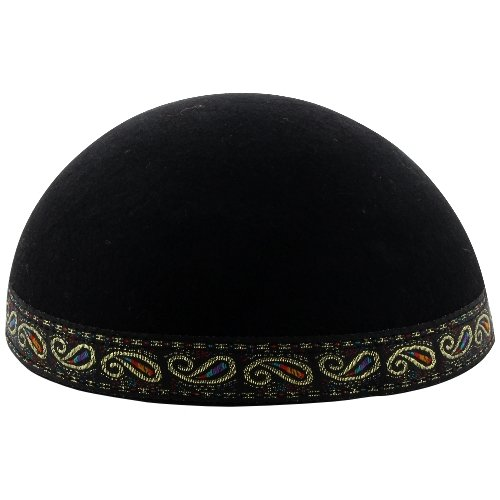 Yemenite Kippah with Multicolor and Gold Paisley Border