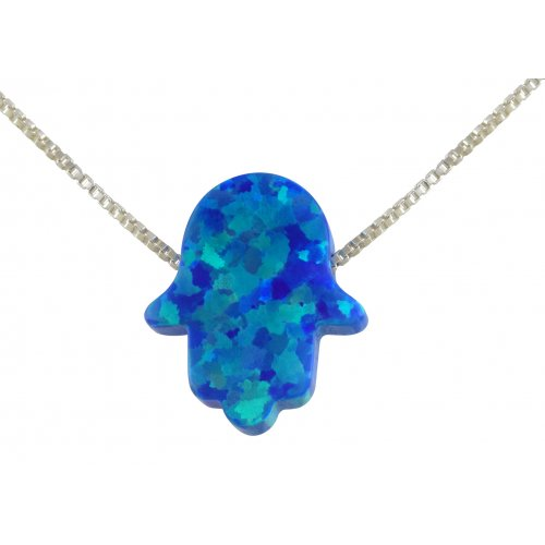 aJudaica Blue Opal Hamsa Hand Necklace