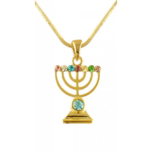 aJudaica Colored Stone Gold Menorah Necklace