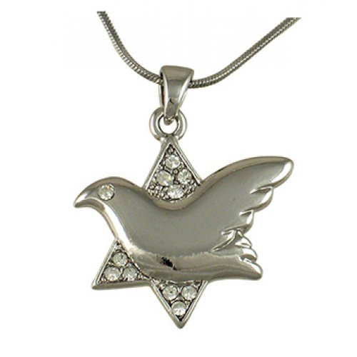 aJudaica Dove of Peace Star of David Rhodium Necklace