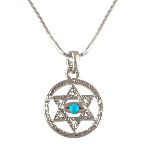 aJudaica Rhodium Star of David Necklace - Blue Stone