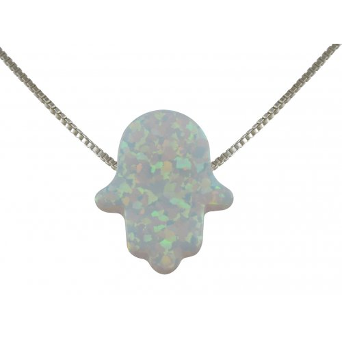 aJudaica White Opal Hamsa Hand Necklace
