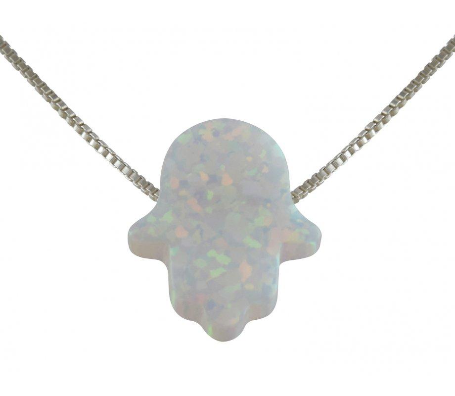 Ajudaica white opal hamsa hand necklace ajudaica ajudaica white opal hamsa hand necklace aloadofball Images
